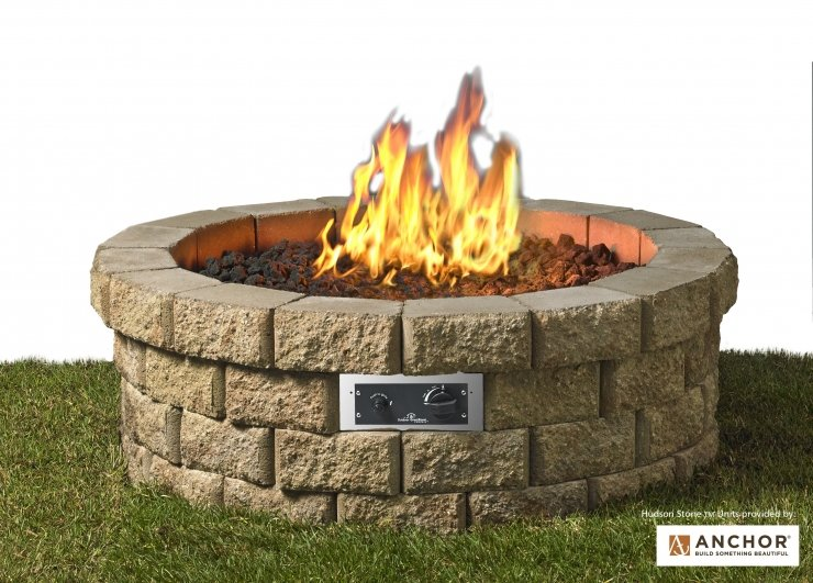 Outdoor natural gas fire pits protech gasfitting plumbing shown with optional round 46 hudson stone gas fire pit kit solutioingenieria Gallery